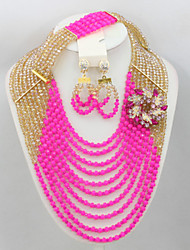 African Nigerian Brides Crystal Jewelry Set