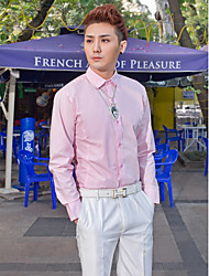 Классический - Рубашка ( Розовый , Хлопок/Полиэфир ) Однотонный - Длинные