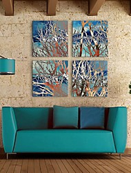 E-HOME® Stretched Canvas Art Abstract The Branches Decoration Painting Set of 4