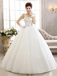 Ball Gown Ankle-length Wedding Dress -Spaghetti Straps Lace