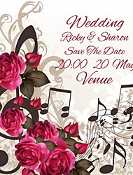 Personalized 50 pcs/Lot 13.5cm x 13.5cm Red Rose Music Notes Wedding Invitations Save The Date Paper Card