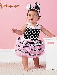Girl's Summer Dot Bow Suspender Cake Dresses(Cotton)