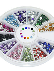 600Pcs 12 Color Circular Bright Acrylic Diamond Nail Art  Decoration kits