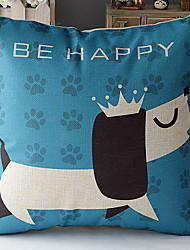 Modern Style Black & White Cartoon Dog Patterned Cotton/Linen Decorative Pillow Cover