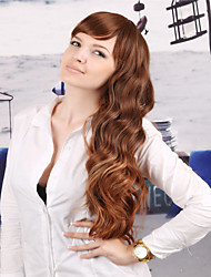 The New European and American Long Curly Brown Wig Dyed Polyester