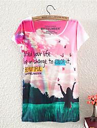 Vrouwen Actief Alle seizoenen T-shirt,Uitgaan Bloemen Ronde hals Korte mouw Meerkleurig Katoen Medium