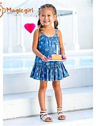 Girl's Summer Sleeveless Blue Denim Suspender Dresses Casual Flora Soft One Piece Dress(Cotton)