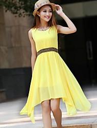 Women's Summer Fresh Candy Color Slim Irregular Chiffon Dress