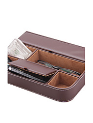 Wedding Gifts Faux Leather Storage Box Napkin Tray Notebook Rack Organizr CellPhone Key Coin Display