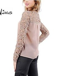 NUO WEI SI ®  Women's New Lace Temperament Cut Out Thin Round Collar Long Sleeve Blouse