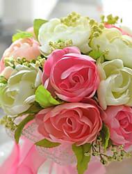 un bouquet de 20 roses de soie de simulation de tissu wedding bouquet de mariage mariée tenant des fleurs, rose et orange