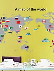 carte amovible environnementale du sticker mural PVC du monde