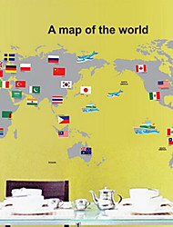 mapa removível ambiental do adesivo de parede pvc mundo