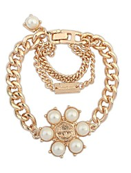 Women's EU&US Elegant Pearls Flower Thick Chain Bracelets