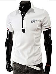 T-Shirts ( Coton mélangé ) Bodycon/Informel/Travail Col chemise à Manches courtes
