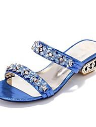 Sandalias ( Azul/Plateado/Dorado Tacones/Punta abierta/Talón abierto - Tacón Ancho - Cuero sintético - para MUJERES