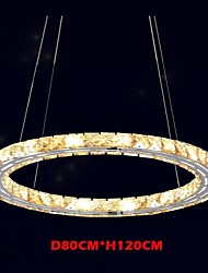 LED Crystal Pendant Lights Lighting Lamps Modern Fixtures Amber K9 Crystal Round Single Ring 80CM