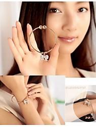 Exquisite Metal Bangle Diamond Bow Opening Bracelet