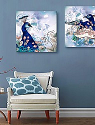 E-HOME® Stretched Canvas Art Peacock Decorative Painting Set of 2