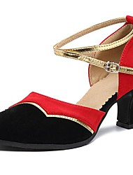Women's Dance Shoes Latin Suede Low Heel Yellow/Red