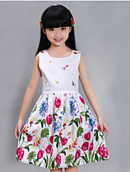 Girls Tulip Flower Print Sundress Party Birthday Casual Children Clothes Princess Dresses(100% Cotton)