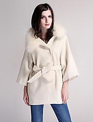 fourrure de raton laveur cachemire col cape de laine manteau vêtements de dessus pour femmes