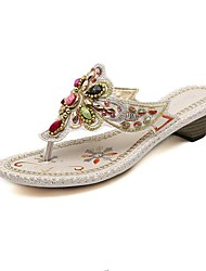 Women's Shoes Chunky Heel Flip Flops Sandals with Rhinestone Shoes