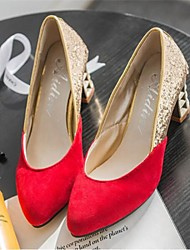 Women's Shoes Leatherette Chunky Heel Heels/Round Toe Pumps/Heels Dress Black/Red
