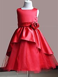 A-line Knee-length Flower Girl Dress - Satin/Polyester Sleeveless