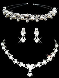 Ladies'/Women's Alloy Wedding/Party Jewelry Set With Imitation Pearl/Rhinestone