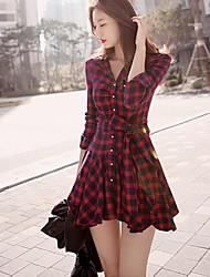 Vestito Da donna Casual A quadri Sopra il ginocchio Colletto Cotone / Poliestere