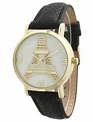 deetah Женская мода факс кожаный ремешок кварцевые часы