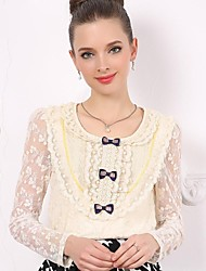 Women's Round Collar Sweet Lace Bow Long Sleeved T Shirt
