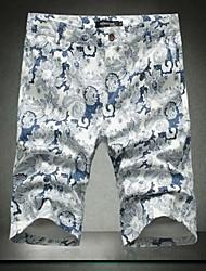 Shorts ( Blau/Gelb , Baumwolle ) - für Freizeit - für MEN - Bedruckt