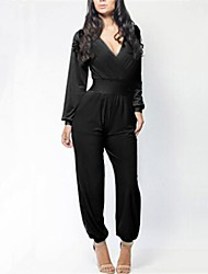 Women's White/Black Jumpsuits , Sexy Long Sleeve