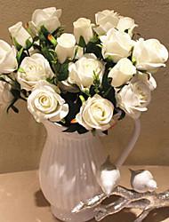 """19 """"l ensemble de neuf fleurs et trois bourgeons du printemps fleurs rose en tissu de soie"""