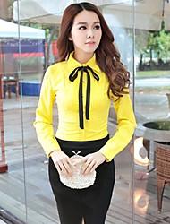 Women's Casual Work Micro-elastic Long Sleeve Regular Shirt (Lace/Polyester/Cotton Blends/Microfiber)