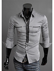 White Men's Fashion New Assorted Colors Slim Long Sleeve Shirt