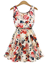 Women's Beach/Casual/Print/Cute Sleeveless Slim Chiffon Dress