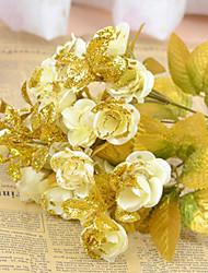 """9 """"l Satz 2 Mini-Köpfen 20 Golden Leaf stieg Seidentuch Blüten weiß"""