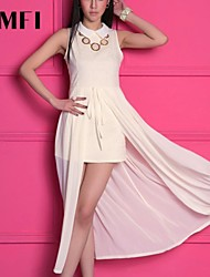 Women's Beige Dress , Work Sleeveless