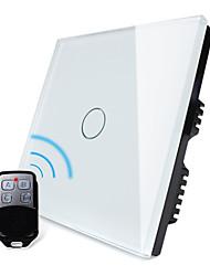 norme au Royaume-Uni, livolo blanc panneau de verre de cristal, lumière de la maison à distance sans fil, commutateur de 1way 1 poste, 110-250vac