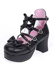 Schuhe Niedlich Klassische/Traditionelle Lolita Lolita Stöckelschuh Schuhe Schleife 7.5 CM Rosa Schwarz Weiß FürPU - Leder/Polyurethan