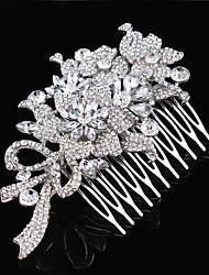 Vintage Wedding Bride Flower Austria Rhinestone Silver Combs Hair Accessories