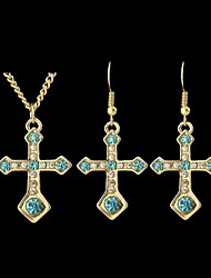 Beautiful Rhinestone Cross Shaped Pendant Fashion Jewelry Set