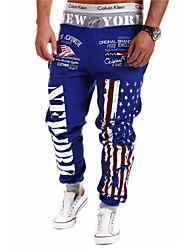 Pantalón Deportivo ( Negro/Azul/Blanco/Gris , Algodón ) - Deporte - Impresión - para HOMBRES