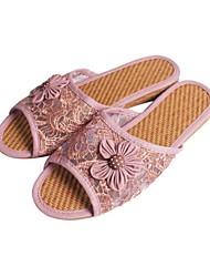 DONNE - Pantofole - Punta aperta/Comfort - Tacco basso Tessuto - Verde/Viola/Beige