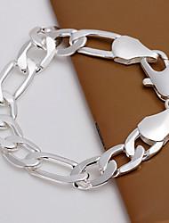Simple Generous Men's Shrimp Buckle Silver Plated Brass  Chain & Link Bracelets(Silver)(1Pc)
