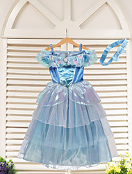 Girl's Summer Inelastic Cinderella Princess Thin Sleeveless Dresses (Organza)