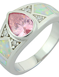 Women's Fashion White Fire Opal Silver Plated Ring with Pink Stone